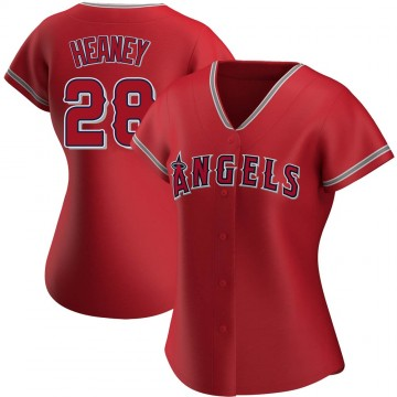 Authentic Andrew Heaney Women's Los Angeles Angels Red Alternate Jersey